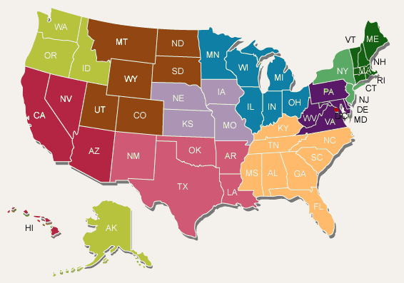 United States Map Outline Color - Color map of us